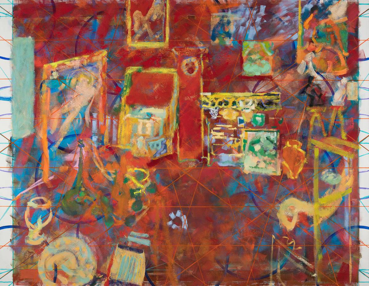 33_18 (L'Atelier rouge). Oil on canvas, 200 x 260 cm, 2018