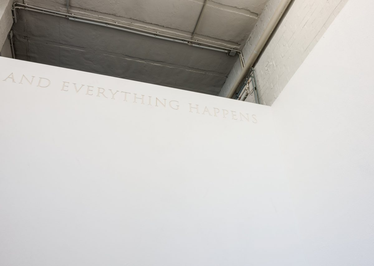 We face the moment. (Detail), inscription, 2012