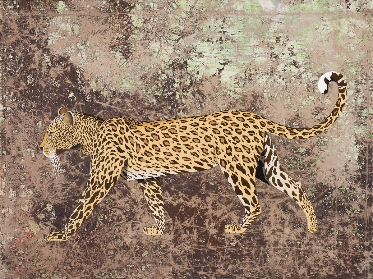 Natur und Technik trennen Welten (Leopard). Egg tempera on canvas, 60 x 80 cm, 2017