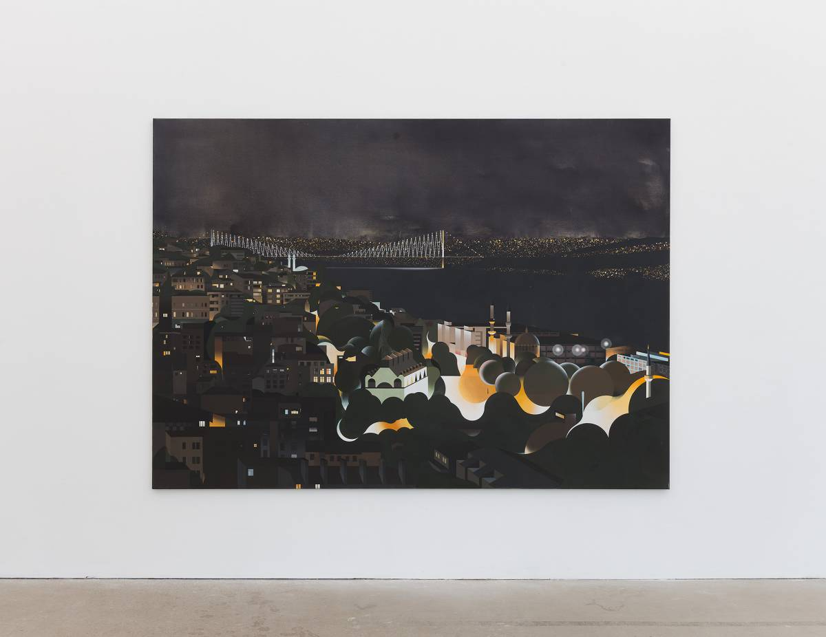 Robert Seidel: Am Bospurus (bei Nacht). Egg tempera on canvas, 170 x 240 cm, 2017