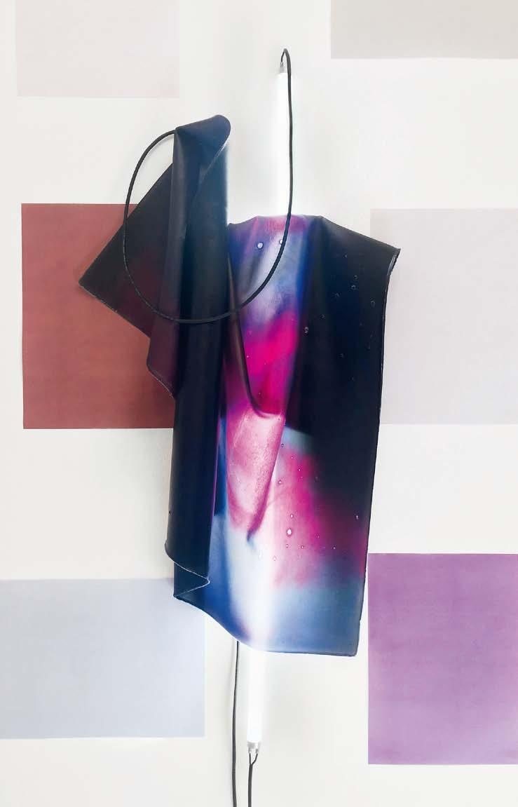UPATEOA_hybrid (Flexible Object #4). Latex, farbstoffbasierte Inkjet-Tinte, Leuchtstoffröhre, Kabel, Vorschaltgerät, 113,5 x 82 x 17 cm, 2018